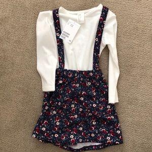 H&M Floral Long-Sleeve Romper Dress Size 1 1/2-2Y